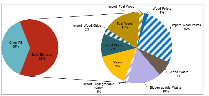 Pie chart: Use of solid biomass