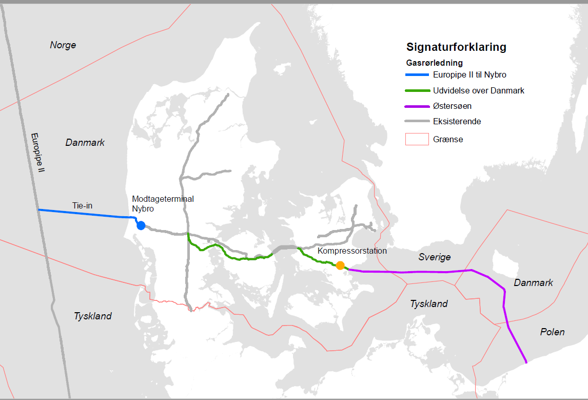 Grafik: Oversigtkort over Baltic Pipe-ruten