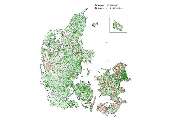 Kort over bredbåndsdækningen i Danmark. Energistyrelsen.