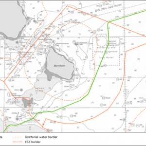 Figure. Map of the Nord Stream 2 route on the Danish continental shelf.  Source: Nord Stream 2 AG